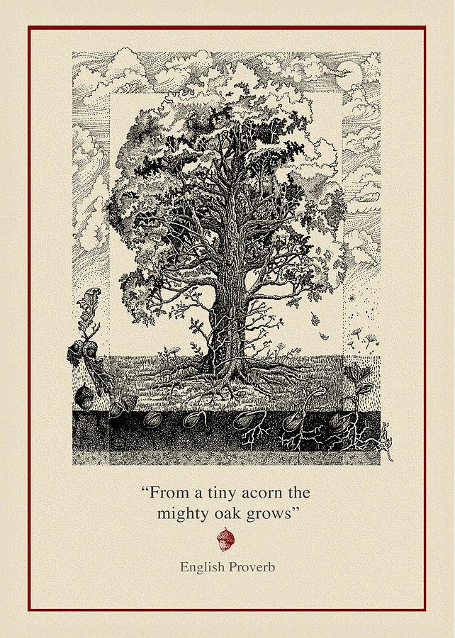 Oak Drawing - The Mighty Oak by Ernestine Grindal