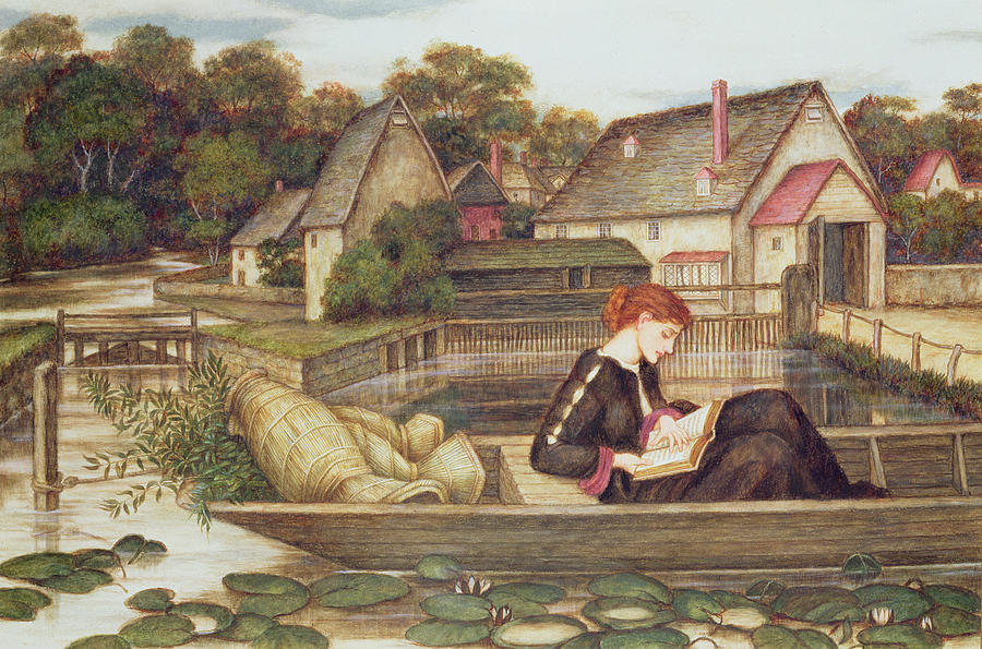 Waterlilies; Boat; Woman Reading; Pre-raphaelite Painting - The Mill by John Roddam Spencer Stanhope
