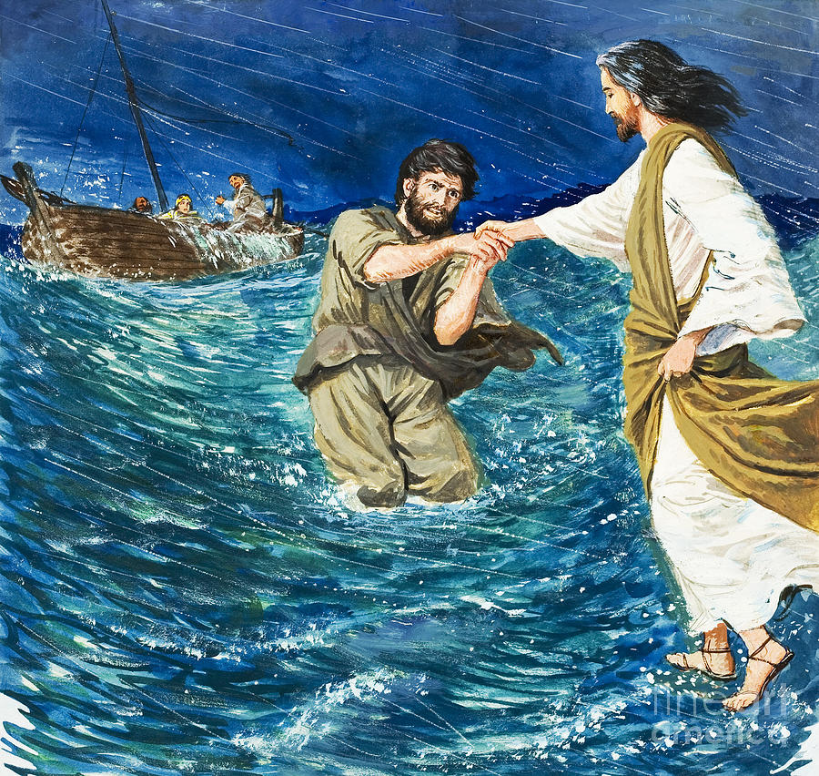 Jesus Christ; Miracle; Saint Peter; St; Lake; Fisherman; Fishing Boat; Storm; Wave; Sinking; Helping; Belief; Believing; Followers Painting - The Miracles Of Jesus Walking On Water  by Clive Uptton