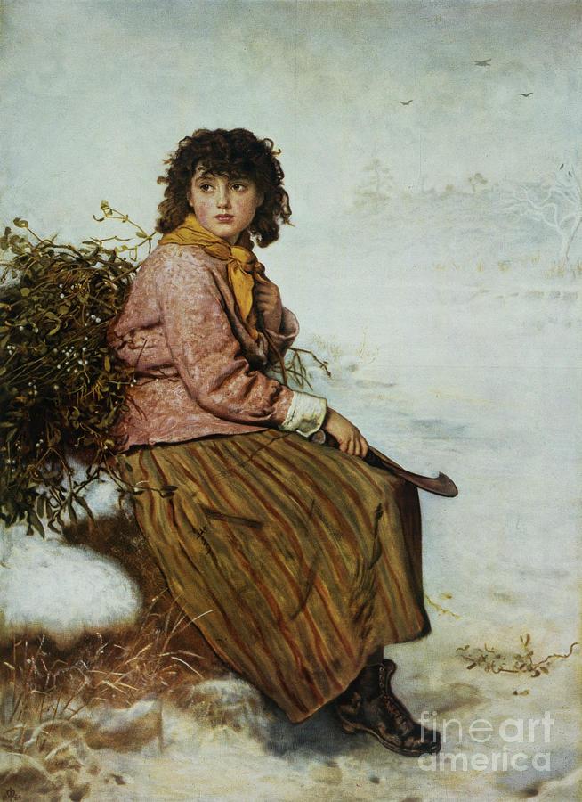 The Painting - The Mistletoe Gatherer by Sir John Everett Millais
