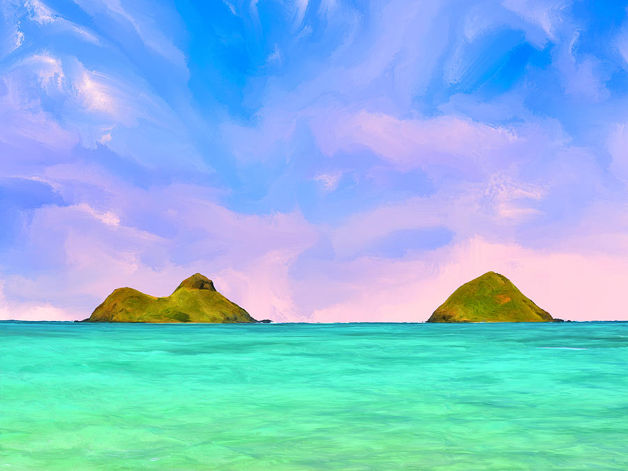 The Mokes In The Morning At Lanikai Painting By Dominic