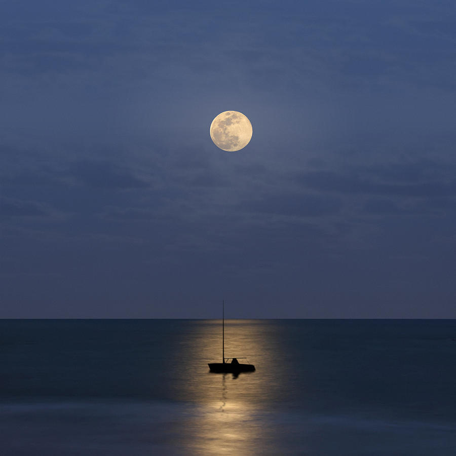 Square Photograph - The Moon Guide Us by Carlos Gotay