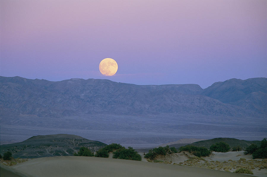 The Moon Rises Over The Amargosa Photograph