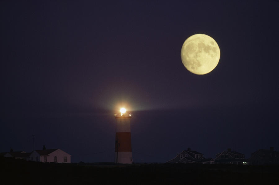 Geography Photograph - The Moon Shines Above The Sankaty Head by James L. Stanfield