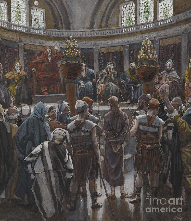 Life Of Christ; Interior; Passion; High Priest; Priests; Elders; Teachers; Male; Decision; Male; Tied Up; Bound; Trial; Tribunal; Jews; Jewish; Guilt; Guilty; Tissot Painting - The Morning Judgement by Tissot