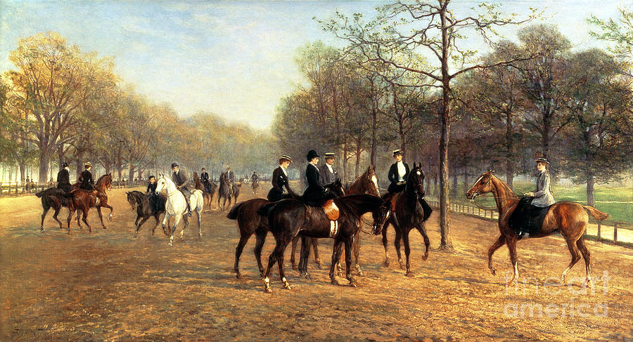 Riding; Exercise; Social; London; Horse; Rider; Leisure Painting - The Morning Ride Rotten Row Hyde Park by Heywood Hardy