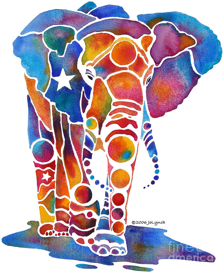 Elephant Painting - The Most Whimsical Elephant by Jo Lynch