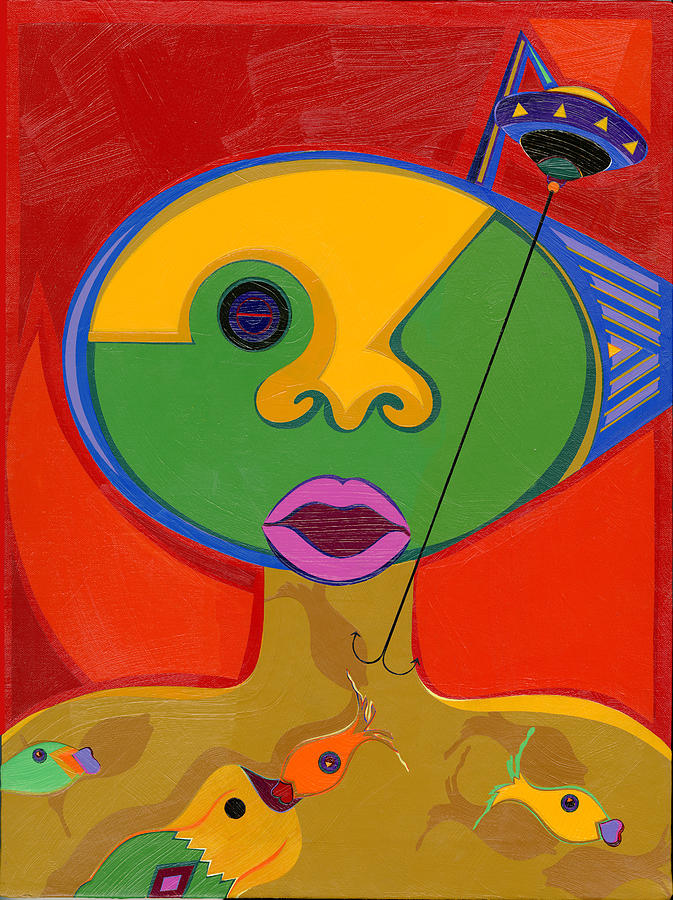 Surreal Pop Art Painting - The Mother Ship by Ruby Persson