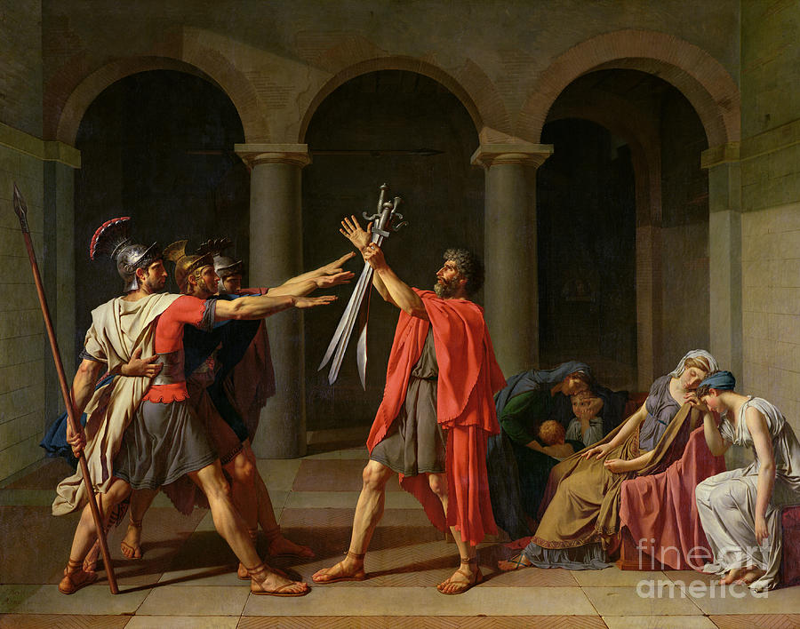 The Painting - The Oath Of Horatii by Jacques Louis David