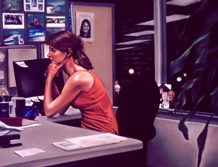 Figures Painting - The Office by Glenn Bernabe