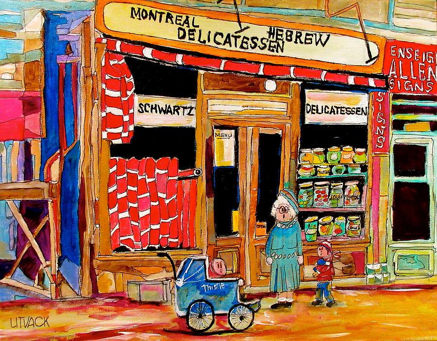 Schwartz's Deli Painting - The Original Schwartzs by Michael Litvack