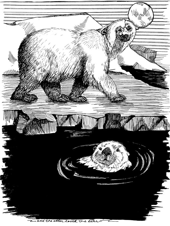 Otter Drawing - The Otter Loved The Bear by Laura Brightwood