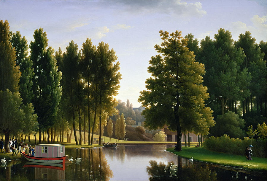 Lake Painting - The Park At Mortefontaine by Jean Bidauld
