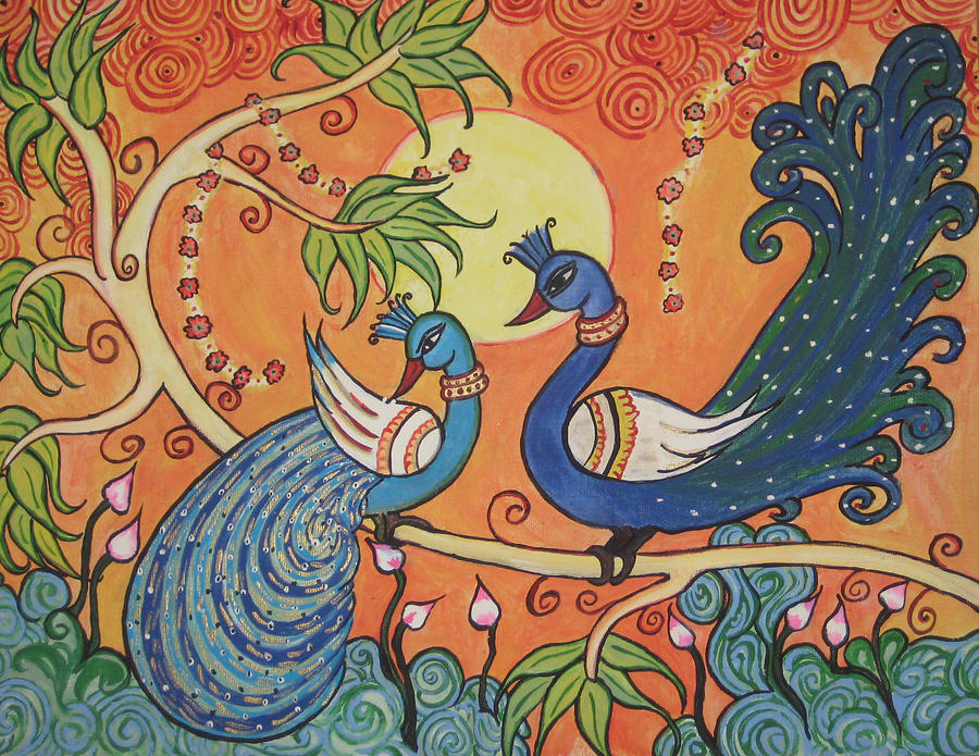 The peacocks painting by deepa padmanabhan for Buy kerala mural paintings online