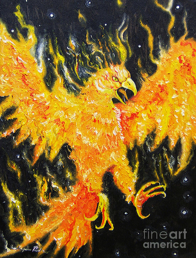 Bird Painting - The Phoenix  by Joseph Palotas