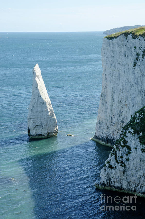Stack Photograph - The Pinnacle Stack Of White Chalk On The Isle Of Purbeck Dorset England Uk by Andy Smy