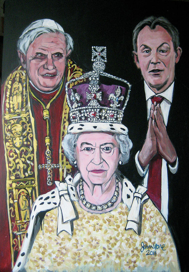 Pope Painting - The Pope The Queen And The Politician by Ray Johnstone
