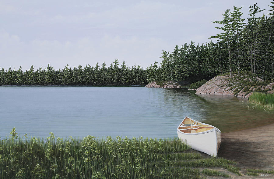 Canoe Painting - The Portage by Kenneth M  Kirsch