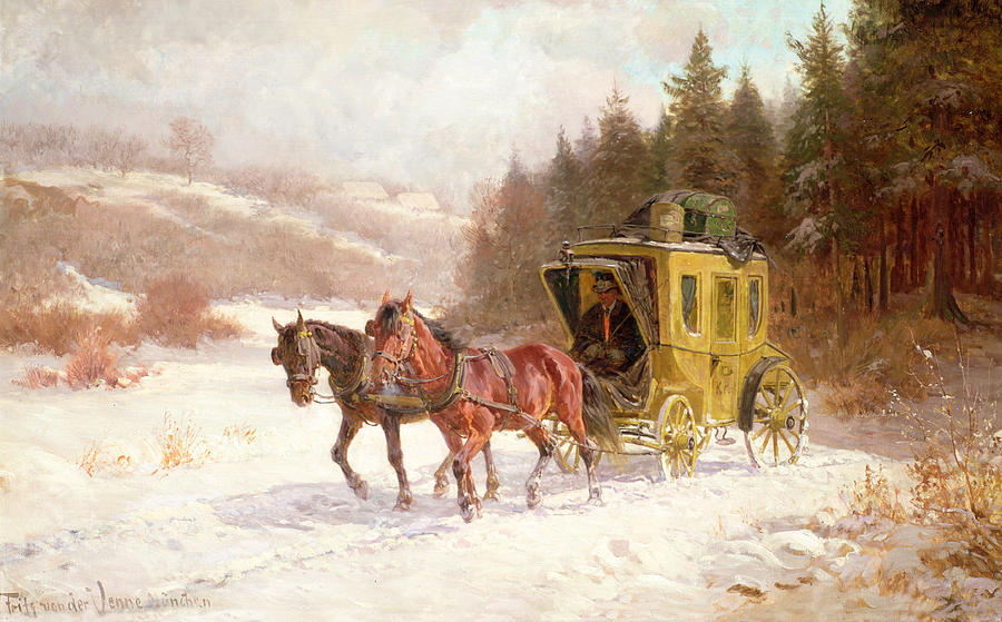 The Painting - The Post Coach In The Snow by Fritz van der Venne