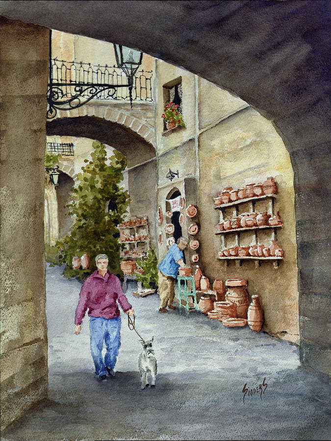 Street Painting - The Pottery Shop by Sam Sidders