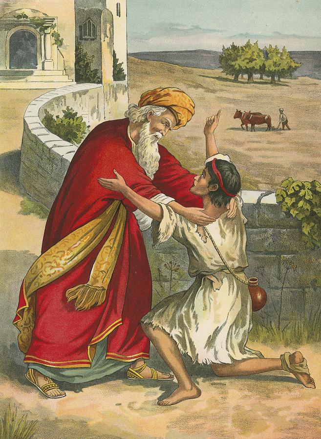 Bible; Children's; Jesus Christ; The Prodigal's Return; The Prodigal Son; Father; Return Painting - The Prodigals Return by  English School