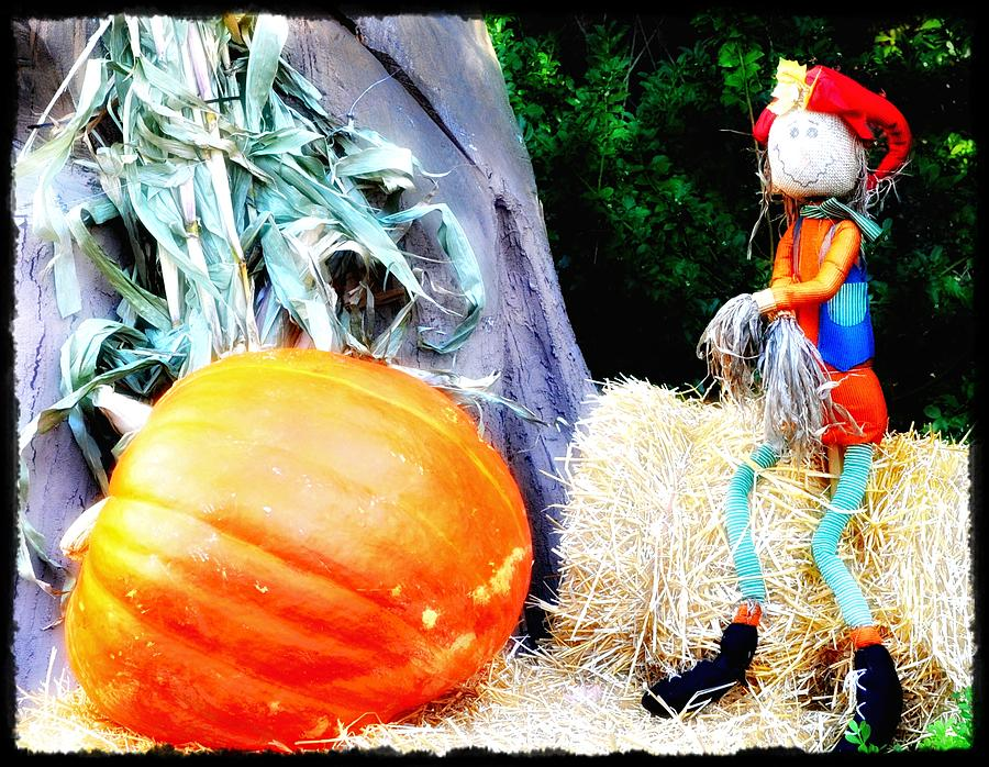 Pumpkin Photograph - the Pumpkin and the Scarecrow by Bill Cannon