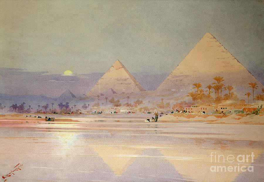 The Painting - The Pyramids At Dusk by Augustus Osborne Lamplough