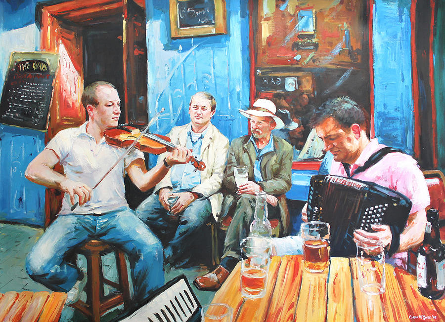 Streetscape Painting - The Quay Players by Conor McGuire