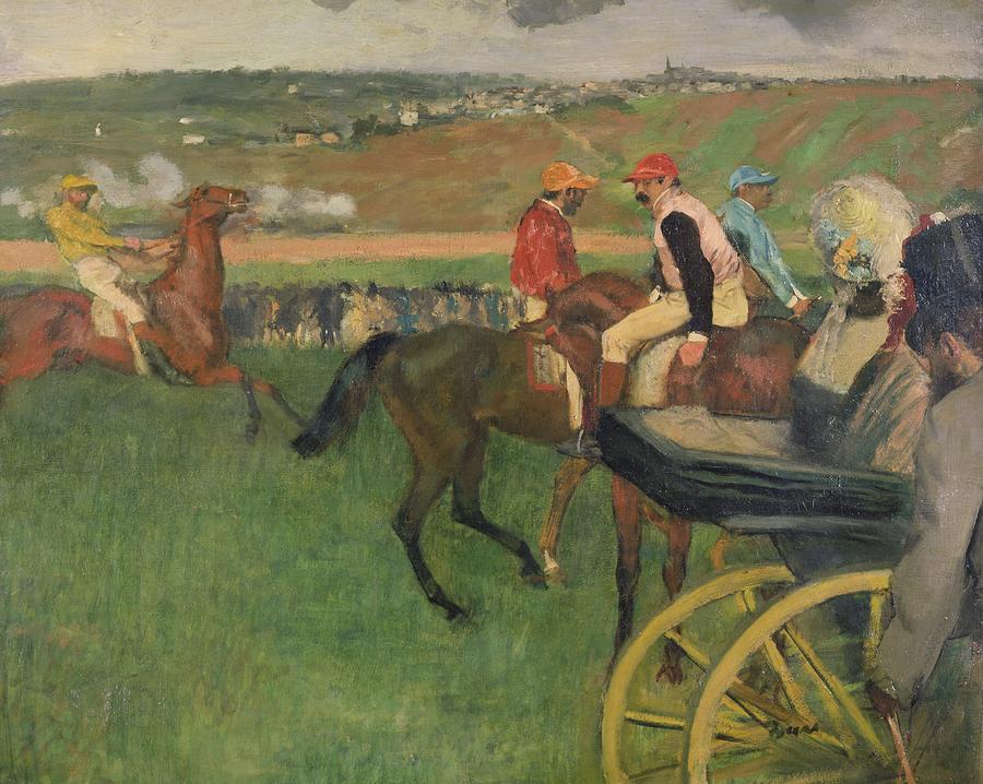 The Race Course - Amateur Jockeys Near A Carriage Painting - The Race Course by Edgar Degas