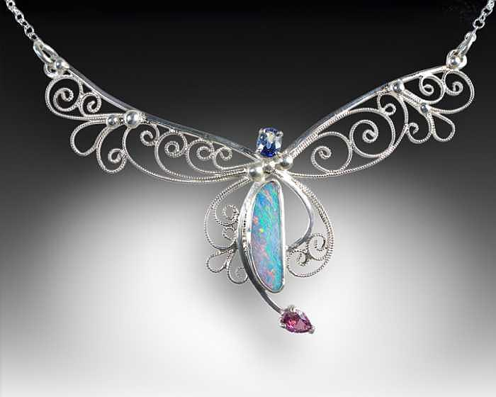 Sterling Silver Filigree Opal Handcrafted Sapphire Necklace Jewelry - The Rainbow Fairy by Jeanne  Rhodes-Moen