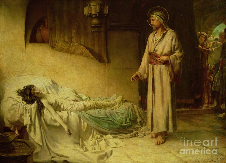 The Painting - The Raising Of Jairuss Daughter by George Percy Jacomb-Hood