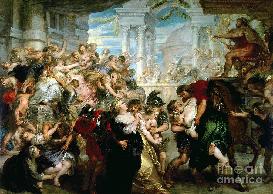 Rubens Painting - The Rape Of The Sabine Women by Peter Paul Rubens