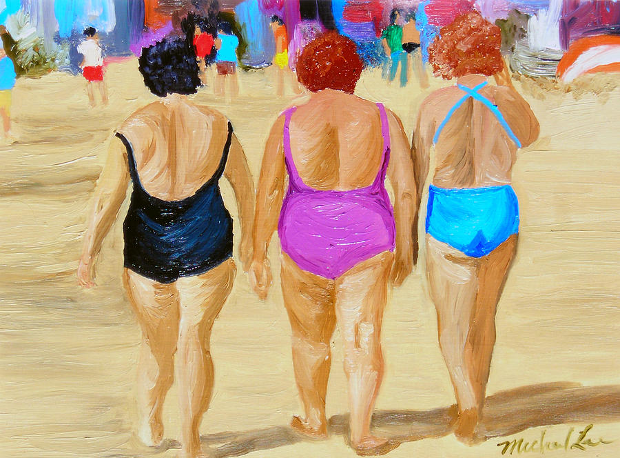Beach Scenes Painting - The Real South Beach by Michael Lee
