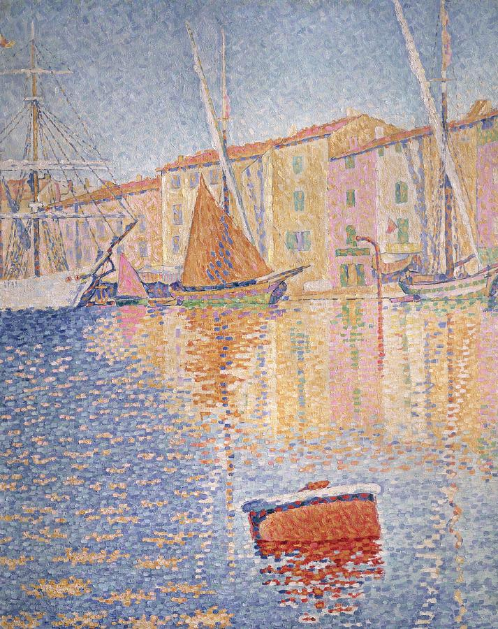 The Red Buoy Painting - The Red Buoy by Paul Signac