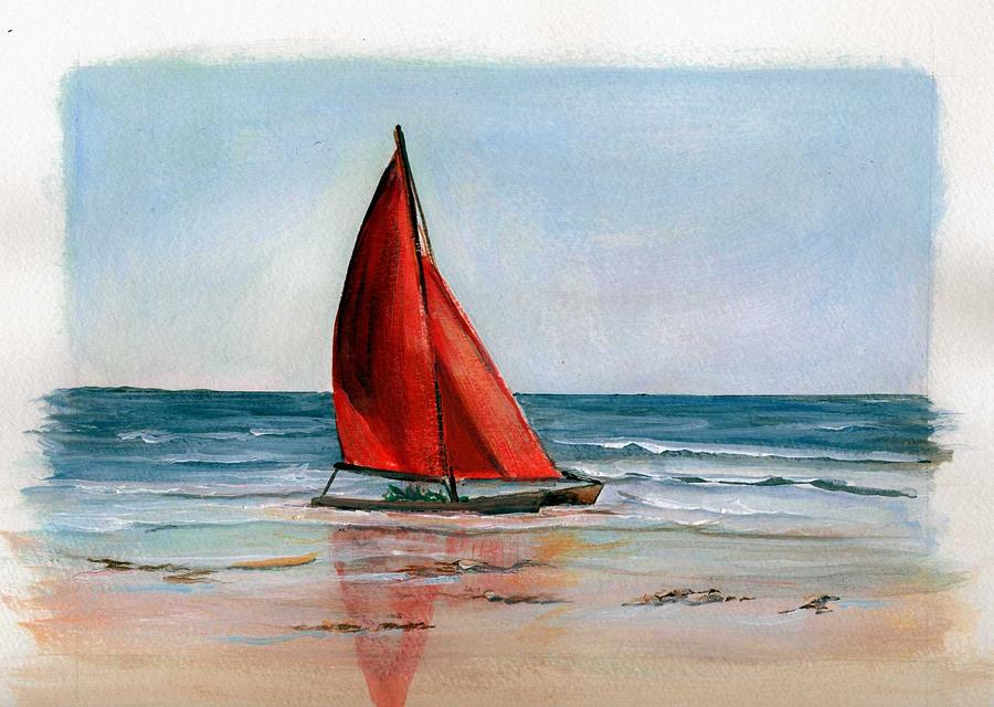 Red Abstract Sailboat Painting