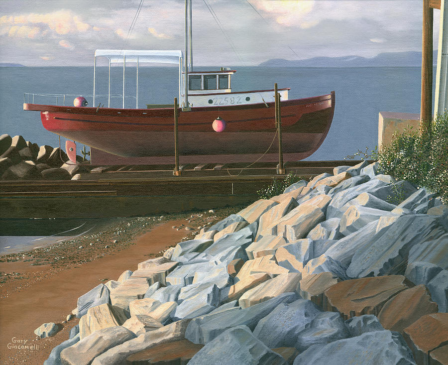 Ship Painting - The Red Troller Revisited by Gary Giacomelli