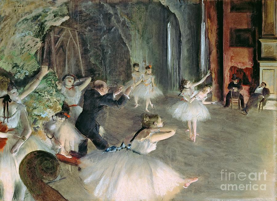 The Painting - The Rehearsal Of The Ballet On Stage by Edgar Degas