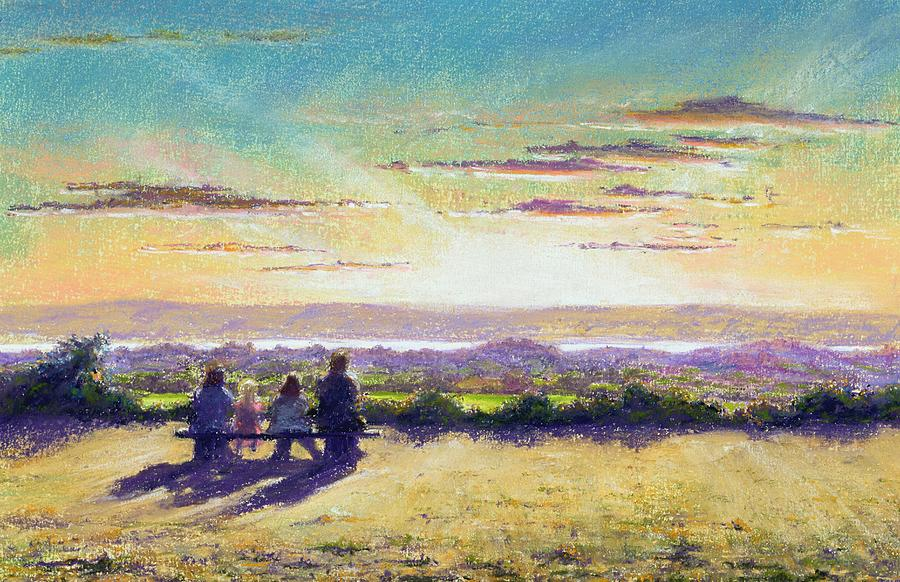 Beach; Sunset; Sea; Ocean; Sun Setting; Evening; Shore; Coast; Coastal; Seaside; Sand; Seated; Family; Figures; Light; Clouds; Sunlight; Atmospheric; Spiritual; Togetherness; Hill; Hills; Hilly; Cloud; Green; Grass; Grassy; Bush;  Bushes; View; Landscape Painting - The Remains Of The Day by Anthony Rule