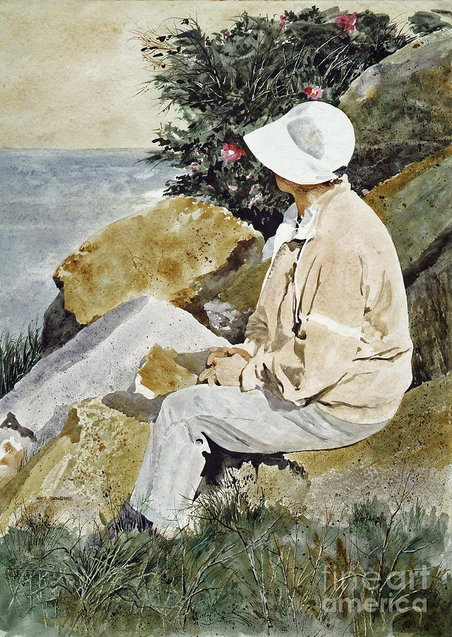 A Lady Enjoys A Moment Of Quiet Contemplation As She Sits On A Rock Near The Nubble Lighthouse In Maine. Painting - The Respite by Monte Toon