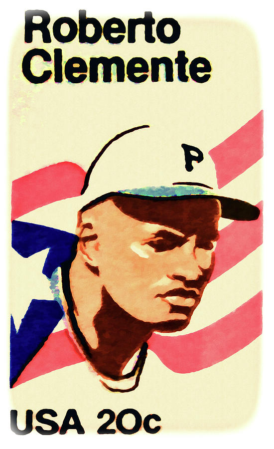 The Roberto Clemente Stamp Painting - The Roberto Clemente  by Lanjee Chee