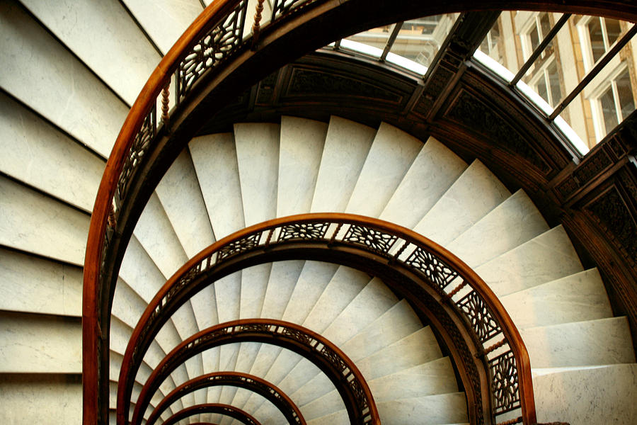 Chicago Photograph - The Rookery Spiral Staircase by Ely Arsha