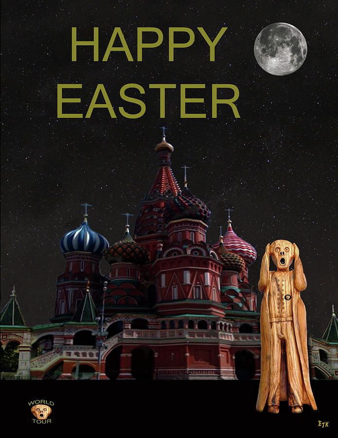 Moscow Mixed Media - The Scream World Tour Moscow Happy Easter by Eric Kempson