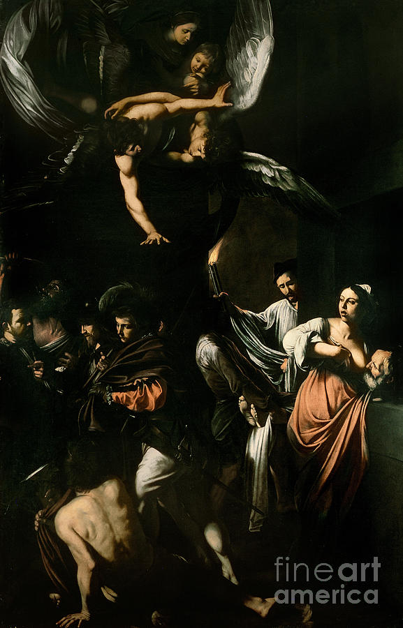 Breast Feeding; Old Man; Acts; Charity; Angel; The Seven Works Of Mercy Painting - The Seven Works Of Mercy by Caravaggio