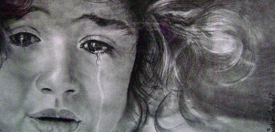Crying Girl Drawing - The Shy Cry Girl by Mickey Raina