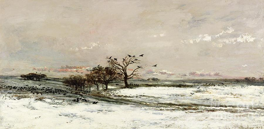 The Painting - The Snow by Charles Francois Daubigny