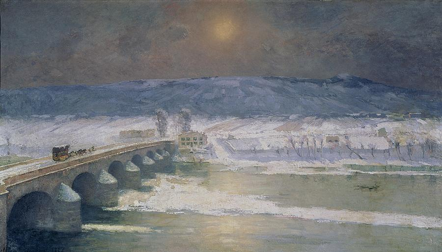 The Painting - The Snow In The Auvergne by Albert Charles Lebourg