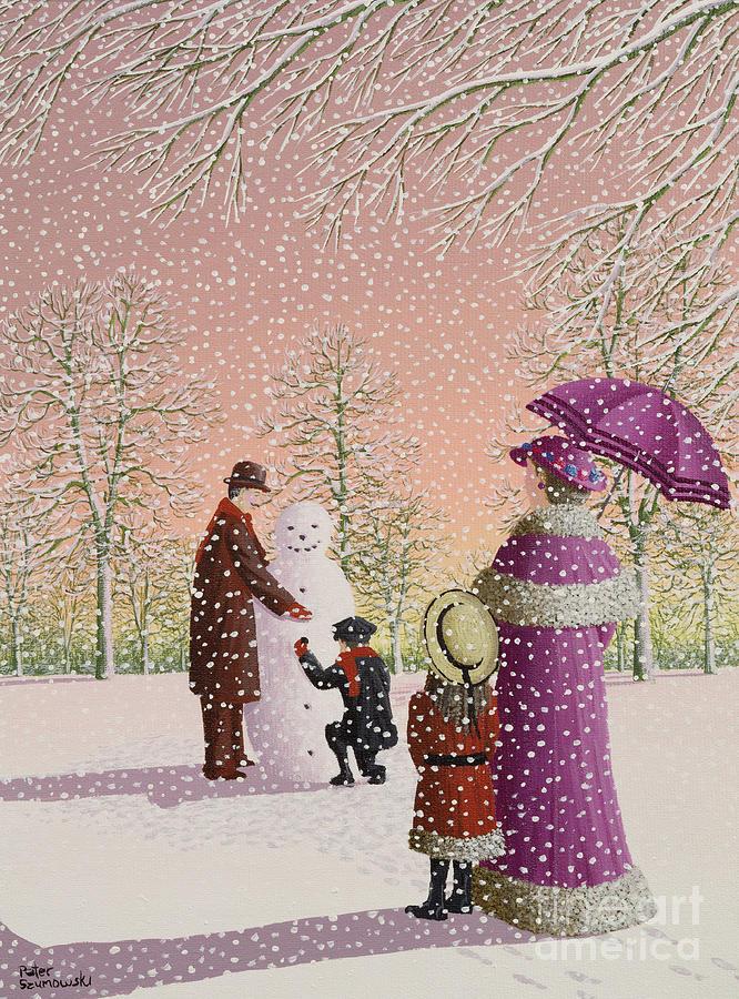 Snowman; Snow; Snowing; Winter; Cold; Woman; Umbrella; Parasol; Child; Children; Man; Playing; Outside; Landscape; Tree Painting - The Snowman by Peter Szumowski