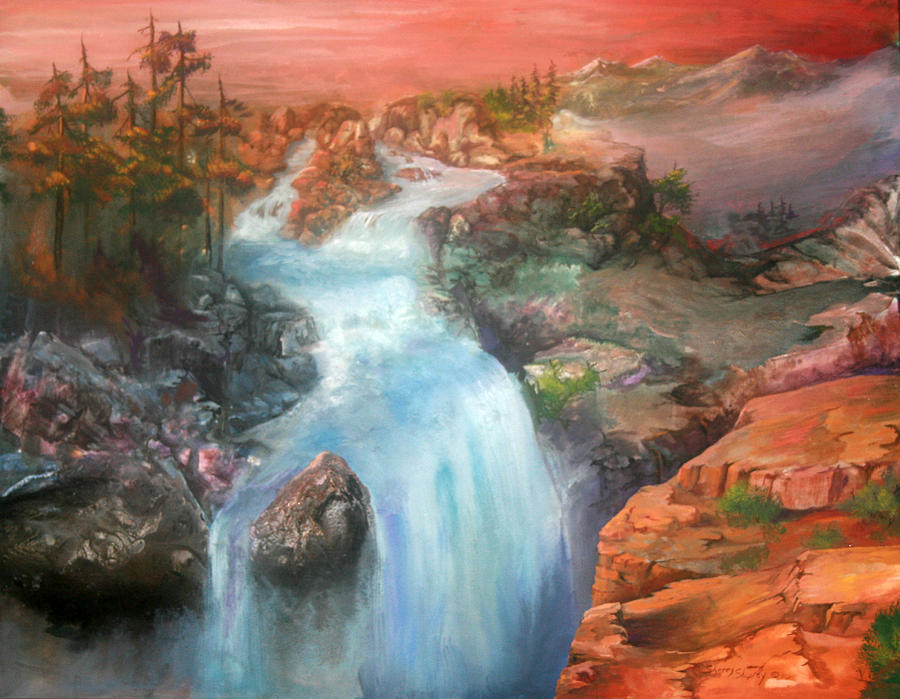 Waterfall Painting - The Source by Sherry Shipley