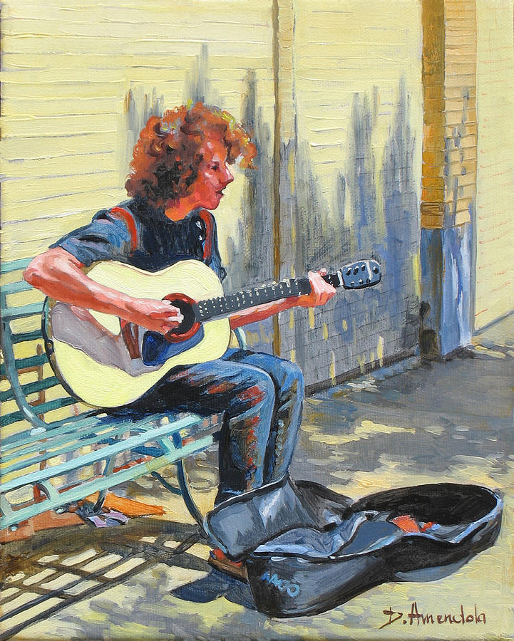 Guitar Painting - The Street Guitarist by Dominique Amendola