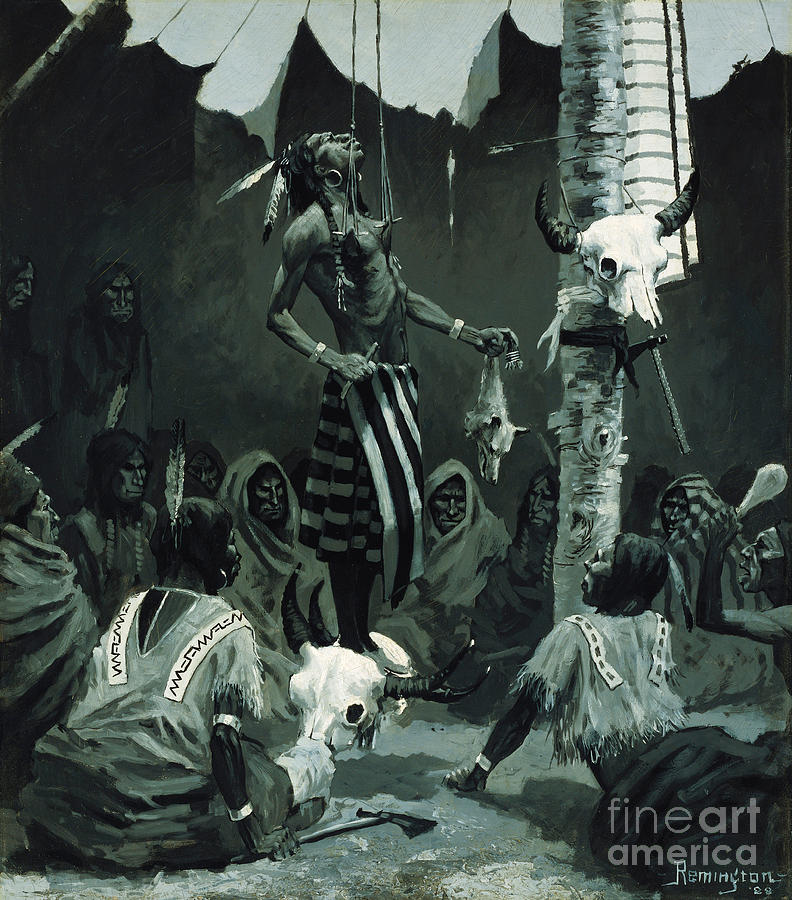 Mandan Initiation Ceremony (the Sundance) 1888 (oil On Board)the Okipa Ceremony In Which Young Mandan Warriors Were Suspended With Wooden Skewers Through The Skin Of Their Chests; Indian Painting - The Sundance by Frederic Remington